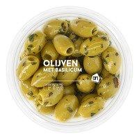 AH Groene olijven met basilicum