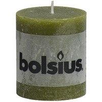 Bolsius Stompkaars rustiek olijfgroen 8 cm
